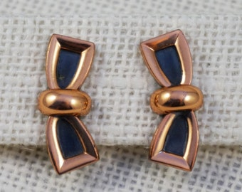 Renoir Mid Century Copper and Black Modernist Bow Earrings