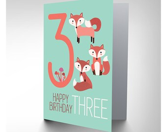 Card Birthday Kids Three 3 Foxes CP2980