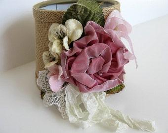 "Lamp Shade Pink Ribbon Rose Velvet Pansies Lace Burlap 5"" Shade Hand Made Designer Original Romantic Shabby Chic Cottage French Farmhouse"