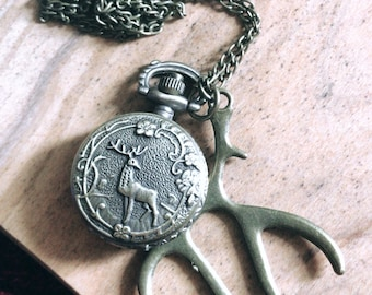 "30"" Mini Bronze Pocket Watch Pendant Necklace - Deer Antler Animal Functional Watch"