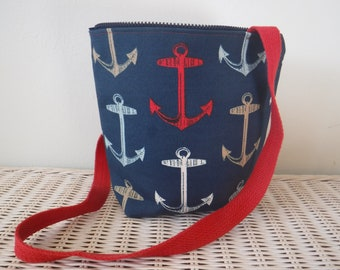 Red, White and Blue Anchor Bag Purse-- Water Repellent