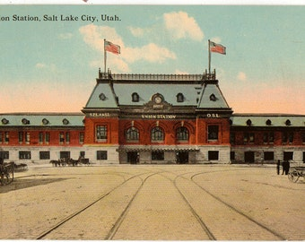 Vintage Postcard, Salt Lake City, Utah, Union Railroad Station, ca 1910