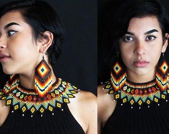 Huichol Native American Necklace and optional Earrings, Tribal Boho Beaded Necklace Set, Huichol Jewelry Set, Tribal High Fashion Jewelry