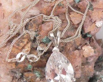 Huge Crystal Sterling Pendant and Chain