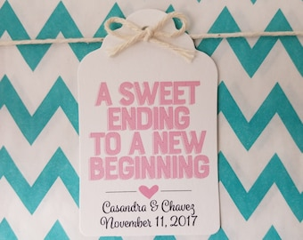 Wedding Gift Tags - A Sweet Ending To A New Beginning - Bridal Shower Favor Tags - Customizable Personalized - White (WT1810)