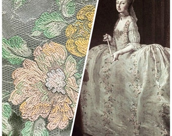 Designer Brocade Satin Damask Fabric - Pink Green - Victorian- Upholstery-Sold By The Yard
