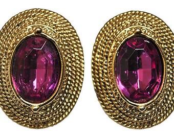 Purple Glass & Twisted Gold Earrings