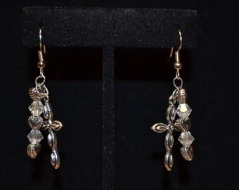 Silvertone Clear Beaded Cross Multi- Dangle Earrings