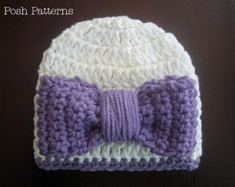 Crochet PATTERN - Hat and Bow Crochet Pattern - Crochet Hat Pattern - Crochet Patterns Kids - Baby, Toddler, Child, Adult Sizes - PDF 208