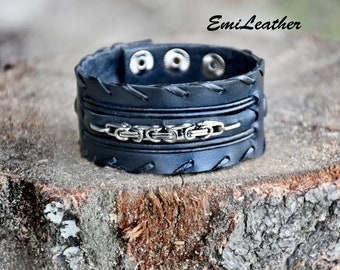Leather cuff bracelet with stainless steel chain, handmade, wide leather bracelet, Leather cuff for men and women