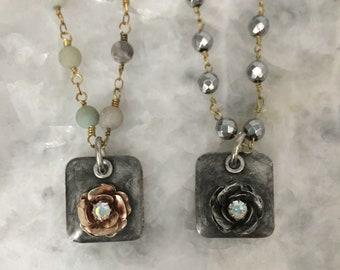 Soldered Pendant Rose Flower, Rhinestone, 3D, Brass, Handmade, Pendant ONLY, Lead Free