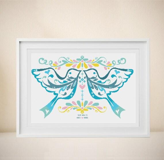 Wedding Cross stitch Pattern Customizable Modern pattern
