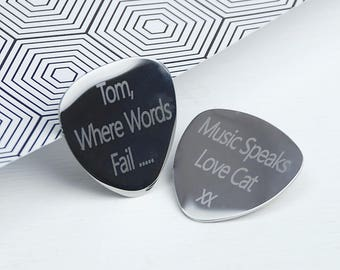 Personalised Guitar Plectrum, Guitar Pick, Engraved Pick, Engraved Plectrum, Gift for Music Lover, Guitar Accessory, Fathers day gift