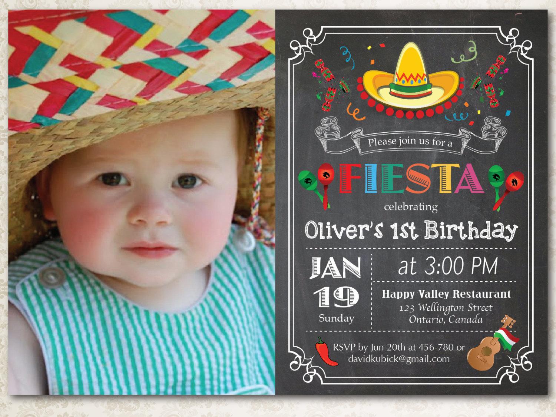 Preferred Chalkboard Fiesta Birthday Invitation. Cinco de Mayo Party BR61