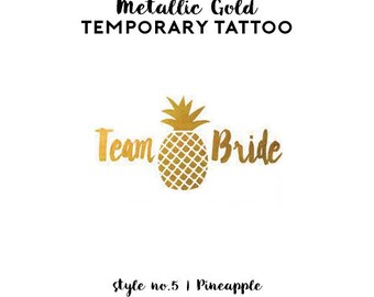 Pineapple Bachelorette Temporary Tattoo Favors | Gold Team Bride Tattoos, Metallic Gold Temporary Tattoo Favor, Tropical Bachelorette Tattoo