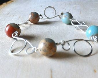 Circle Wrapped Bracelet, Sterling Silver Bracelet, Jasper Bracelet, Gemstone Bracelet, Blue and Brown Bracelet, Gift for Her
