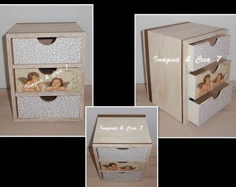 Small chest of drawers jewelry Organizer Wood Golden Angels