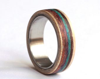 Striped Wood Ring, Mens Band, Wood Mens Ring, Amaranth Wood Wedding Ring, Titanium Wedding Ring,