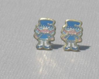 Vintage Blueberry Muffin from Strawberry Shortcake Metal Enamel Stud Earrings