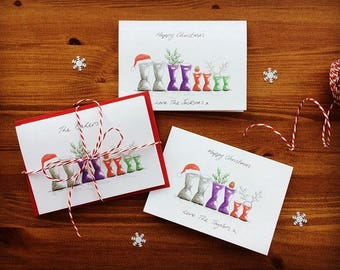 Personalised Christmas cards. Family Wellies. Your personal message hand written on front of card.  Send a smile this Christmas!
