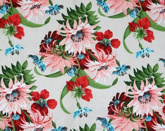 Vintage Royal Bouqet cotton VAT dyes shabby chic flowers floral 40's 50's flower clusters pink turquoise w red flowers ribbon like leaves