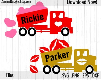 Valentine svg - truck svg - commercial use svg -  file types. .DXF .SVG, .PNG Silhouette studio - cutting file - commercial use