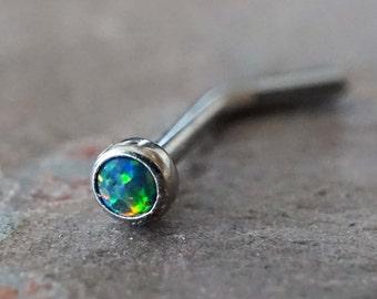 18g Black Opal Nose Ring L Bend 20g Opal Nose Stud