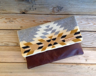 Wool and Leather Fold Over Clutch, Tribal Print Clutch, Leather Clutch, navajo print, fall fashion, Oregon Wool,  Wool bag