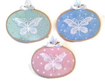 """Oval butterfly hoops Home Decor Hoop Art 3""""x5 oval hoop Shabby Chic Decor Gallery Wall Hoop Baby's Room Farmhouse Decor French Country Decor"""