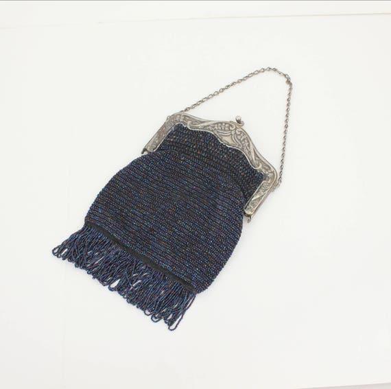 Vintage Blue Beaded Purse, Art Nouveau Cobalt Flapper Evening Bag, Antique Bead Handbag