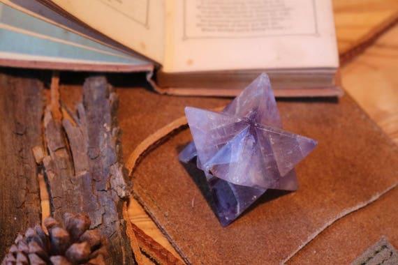 Chevron Amethyst Merkaba 50mm, Amethyst Tetrahedron, Amethyst Star, Carved Amethyst, Sacred Geometry, Purple Crystal Star, 12 Point Star