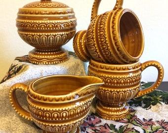 Vintage Ceramic 'Royal Sealy Japan' Cream, Sugar, & 2 Coffee Mugs