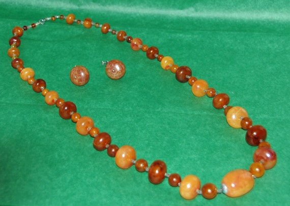 "Reduced Price! Vintage Natural BALTIC AMBER NECKLACE Beads C 1930s Approximately 33"" Long Pr Matching Earrings w/ Patent # 3176475"