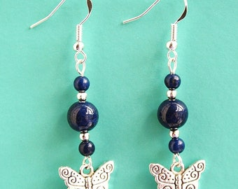 Butterfly Earrings with Lapis Lazuli and Sterling Silver Hooks LB4