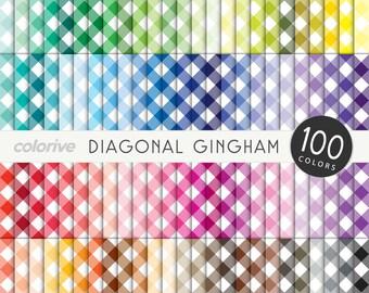 Gingham digital paper 100 rainbow colors diagonal gingham picnic bright pastel printable scrapbook papers