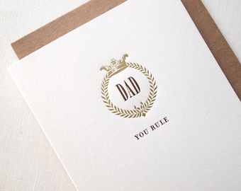 Letterpress Father's Day Card - Wreath and Crown