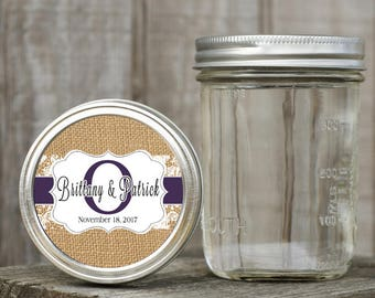 Mason Jar Lid Labels - Glossy Round Sticker Label Tags - Wedding Favors - Choice of Color - Ribbon & Lace Monogram - Burlap and Lapis