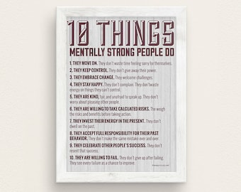 10 Things Mentally Strong People Do Therapy Poster