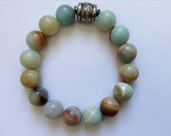 Amazonite and Sterling Silver Stretch Bracelet 12MM