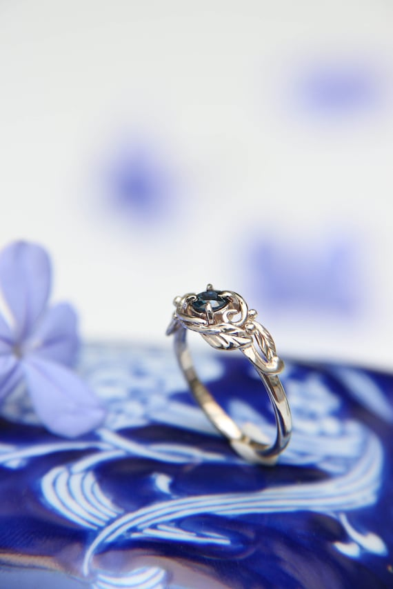 Custom designed engagement ring, white gold and blue sapphire ring, romantic woman jewelry gift, delicate proposal ring, nature inspired
