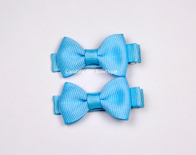 Blue Hair Bow Set of 2 Small Hairbows - Girls Hair Bows - Clippies - Baby Hair Bows ~ No Slip Grip always added
