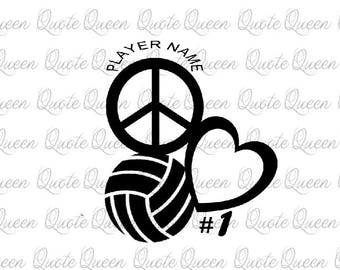 Peace Love Volleyball Decal, Custom Volleyball Decal, Volleyball Decal, Custom Decal, Vinyl Decal, Personalized Volleyball Decal, Car Decal