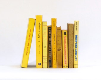 Set of vintage french books, shades of yellow / French literature / Decorative books / Set of 9 french books