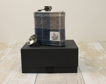 Hip Flask Groomsmen Gifts Best Man Gifts Wedding Flask Harris Tweed Flask Wedding Hip Flask Fathers Day Gift Gifts for Him Blue Beige
