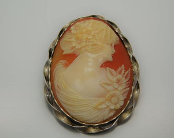 Large Vintage Shell Camoe Brooch With Sterling Setting