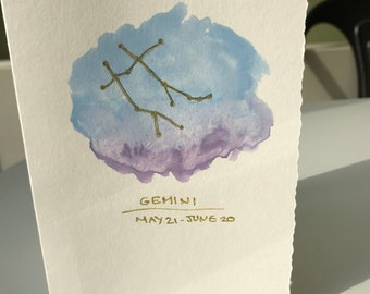 Gemini birthday card! Made using watercolours!