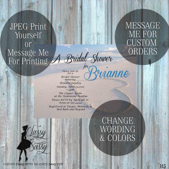 Beach Bridal Shower invitation, Beach Invitation, Blue Invitation, Tropical Bridal Shower 115