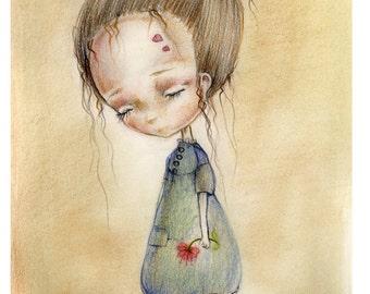 Little M' orphan girl....original aquarelle ,mixed media painting,OOAK