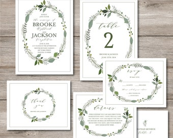 Greenery Wedding Invitation Templates, Printable Wedding Set, Greenery Wedding Kit, Wedding Kit, Templett, Try Before You Buy Use Link Below
