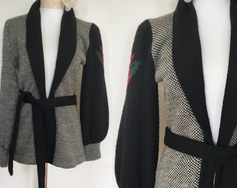 Rare 70s Disco Shawl Sweater with Rose Detail